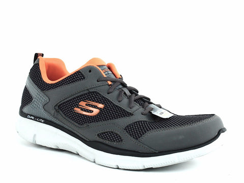 Skechers EQUALIZER Men's Athletic Walking Running Casual Gray Orange Sneakers Shoes