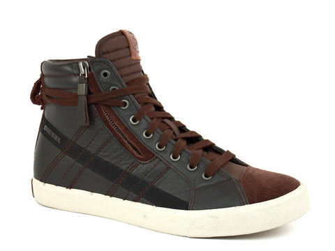 Diesel D-STRING Men's High Tops Casual Fashion Sneakers Brown Leather