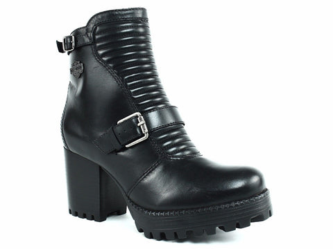 Harley Davidson CANELL Women's Ankle Platform Zip Buckle Black Leather Boot