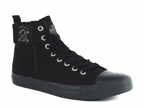 Harley Davidson OLIVER Lace Cross Bone Men's Zip Black Canvas Sneakers
