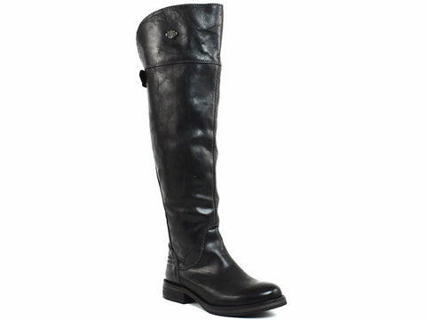 Harley Davidson MONIQUE Over Knee HI Womens Zip Buckle Black Leather Boot