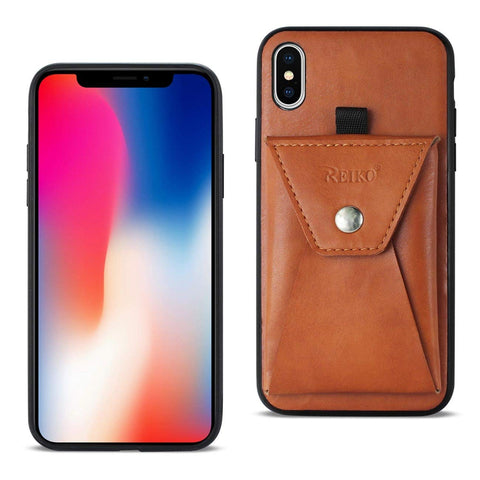 APPLE Reiko iPhone X Durable Leather Protective Case with Back Pocket in Brown