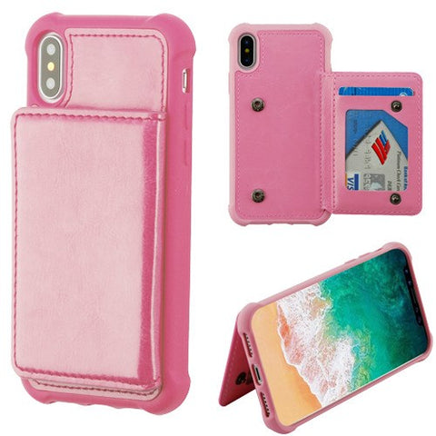 Pink Flip Wallet Executive Protector Cover(TPU Case with Snap Fasteners)(with Package)