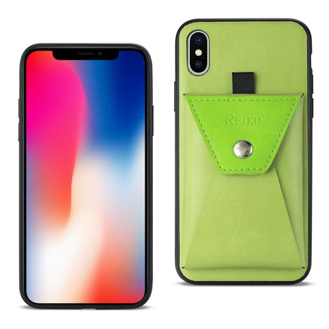 Reiko iPhone X Durable Leather Protective Case With Back Pocket In Celery And Ki GREEN