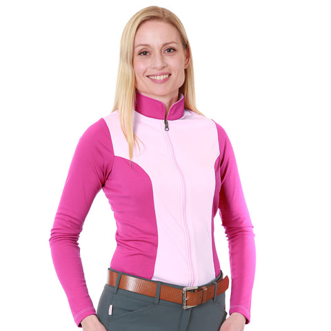 Nozone full zip long sleeve upf 50+ equestrian shirt - pink
