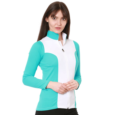 Nozone full zip long sleeve sun protective equestrian shirt turquoise