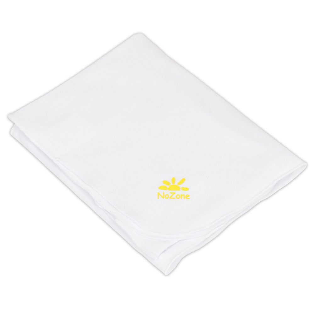 White sun protective baby receiving blanket by nozone