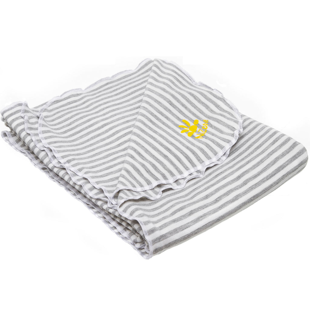 Nozone Baby Blanket Sun protective upf 50+ baby bamboo lightweight gender neutral grey white stripe