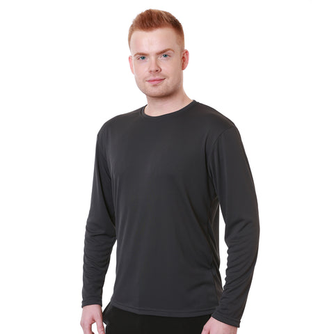 Nozone men's loose fit polyester sun protective t shirt UPF 50+ in charcoal gray black lightweight