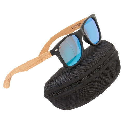 Nozone bamboo sunglasses - UV400 polarized glare-resistant blue lenses - protective travel case
