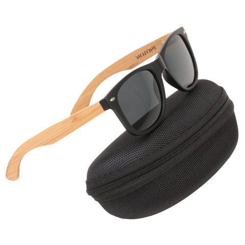 Nozone bamboo sunglasses - UV400 polarized glare-resistant grey lenses - protective travel case