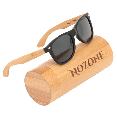 Nozone bamboo sunglasses - UV400 polarized glare-resistant grey lenses - bamboo tube case
