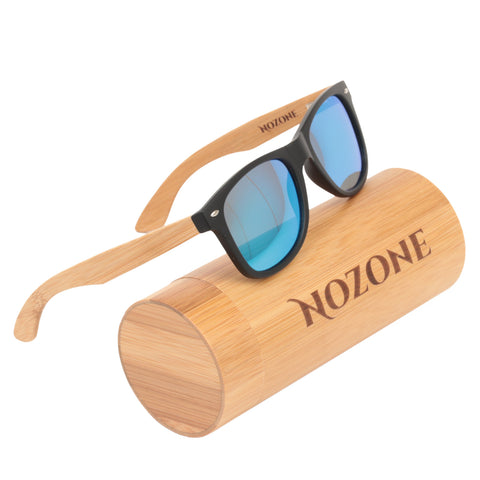 Nozone bamboo sunglasses - UV400 polarized glare-resistant blue lenses - bamboo tube case