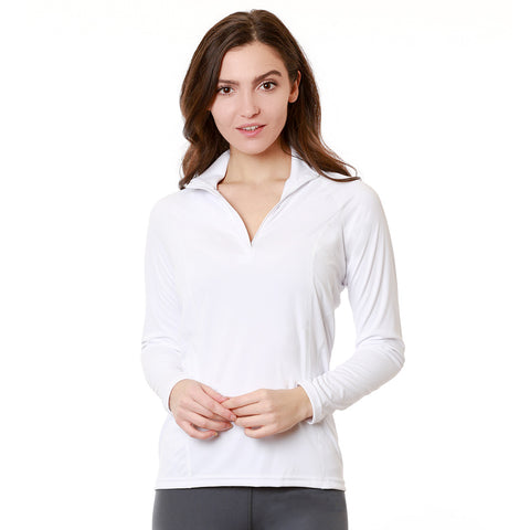 Nozone Women's long sleeve sun protective White UPF 50+ Equestrian Shirt safe lightweight