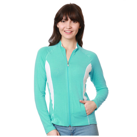 Nozone upf 50+ womens full zip long sleeve shirt - turquoise