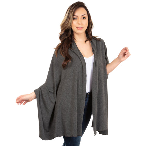 nozone sun shawl arm drape upf 50+ in charcoal gray black