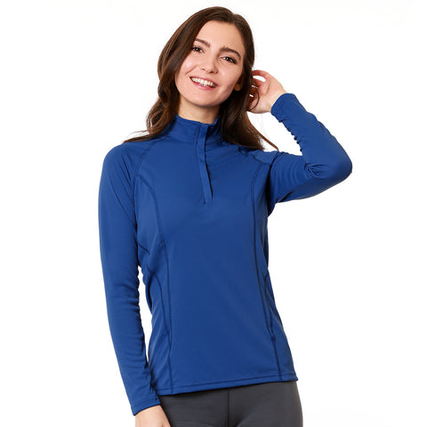 Nozone tuscany Women's long sleeve UPF 50+ sun protective Polo Zipped equestrian shirt in Blue breathable lightweight