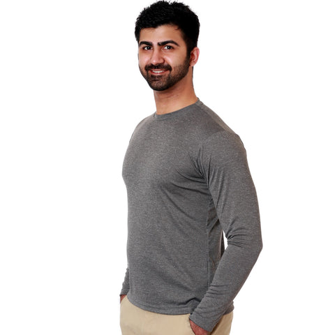 Nozone versa mens uv sun protective upf 50 sports athletic shirt long sleeve char gray breathable lightweight
