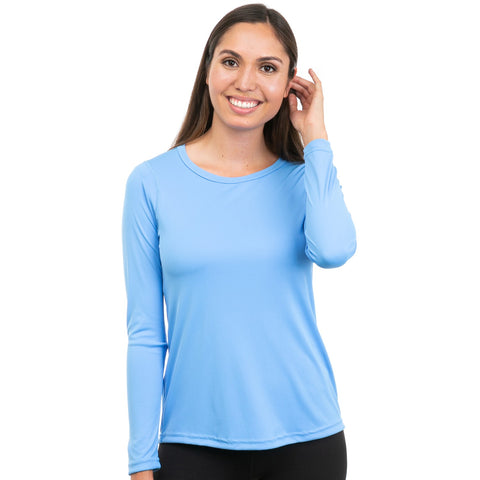 Nozone comfort fit versa womens sun protection upf 50 long sleeve performance shirt - vista blue