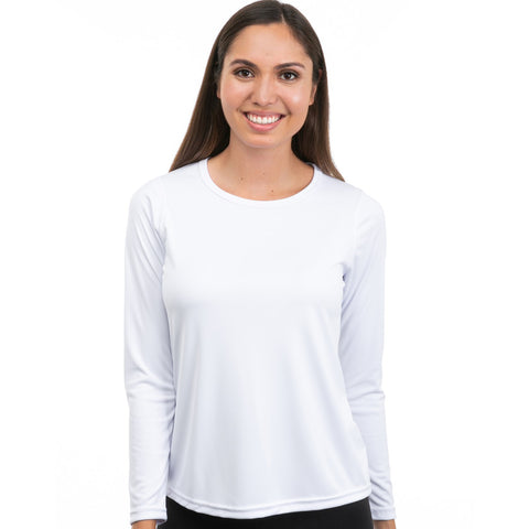 Nozone comfort fit versa womens sun protective upf 50 long sleeve performance shirt - white