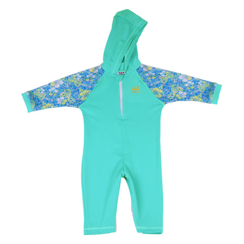 Nozone girls  kailua hooded sun protection spf 50 swimsuit aqua floral print breathable lightweight