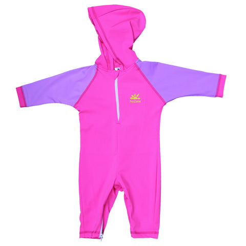 Nozone baby girls purple pink Kailua UV protective hooded swimsuit lightweight spf 50