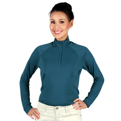 Nozone Tuscany Women's long sleeve UV safe Equestrian Shirt - ink blue breathable lightweight