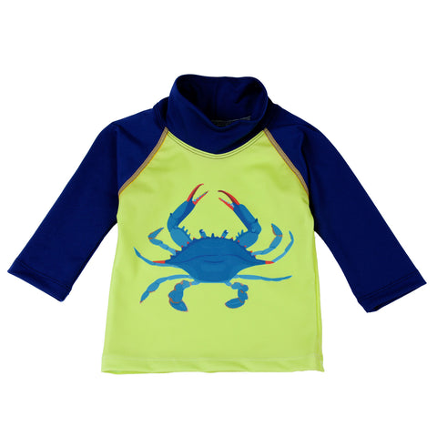 Nozone UPF 50+long sleeved navy and bluecrab baby swim shirt