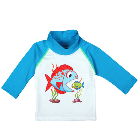 Nozone baby boy blue fish sun protective swim shirt upf 50+