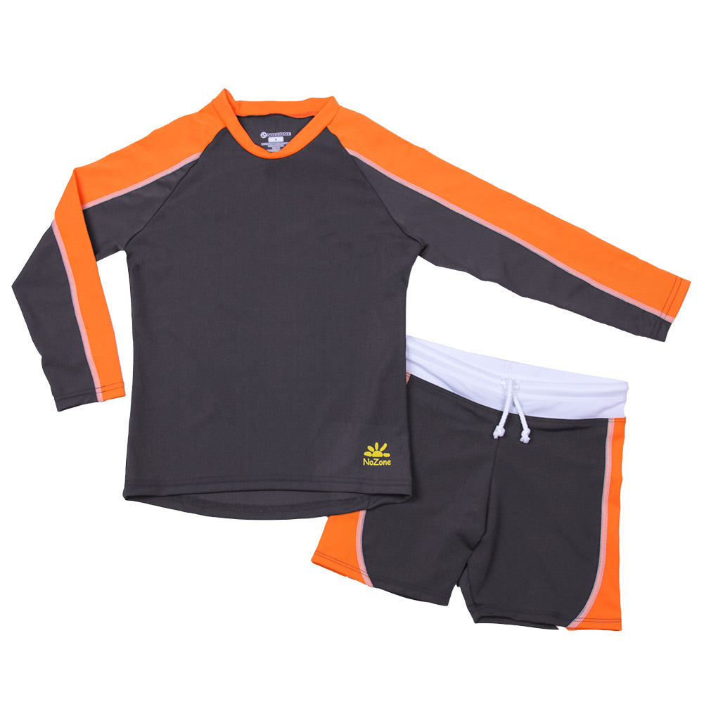 Nozone 2 pc boys sun protective swimsuit in gray and orange black lightweight
