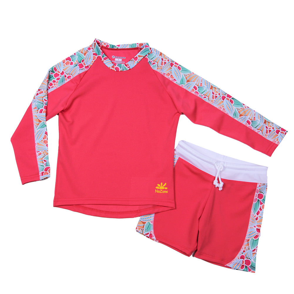 Nozone girls 2 pc sun protective UPF 50+ swimsuit shorts in red prints lightweight soft
