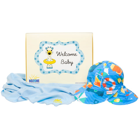 Nozone Baby boy sun protective blanket flap hat gift box set blue
