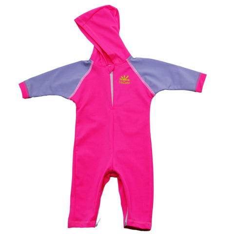 Nozone baby girls pink purple blue Kailua UV protective hooded swimsuit breathable