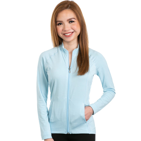 nozone full zip long sleeve womens sun shirt jacket - blue
