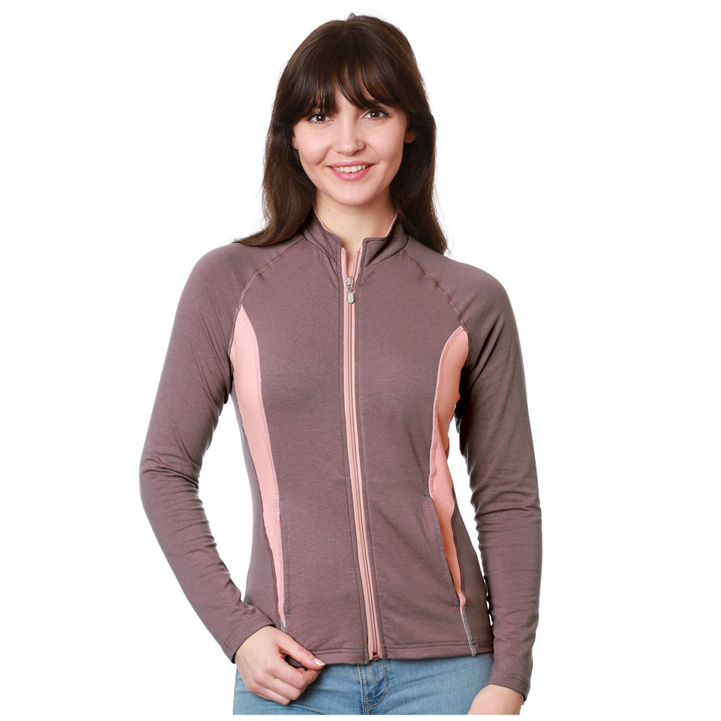 Nozone women;s Sun protective full zip lanai shirt - brown rose