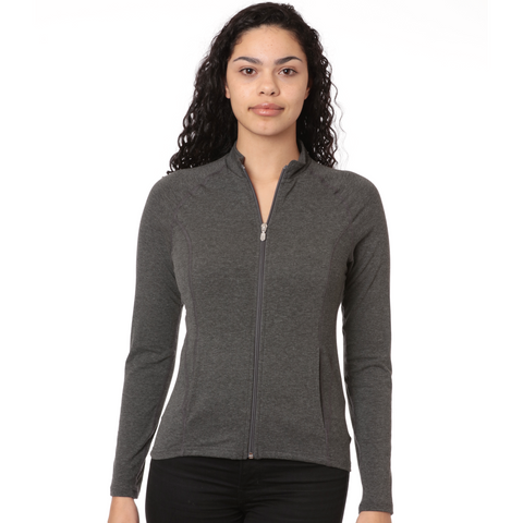 nozone lanai bamboo soft full zip womens shirt jacket in charcoal gray
