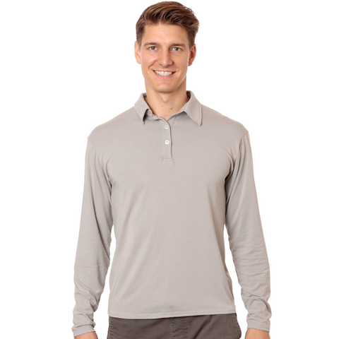 Men's long sleeved upf 50 sun protective bamboo polo shirt - tan grey flint