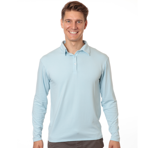 Men's long sleeved upf 50 sun protective bamboo polo shirt - light blue