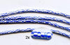 Vintage Blue Striped Small Ghana Glass Beads BA-A43G