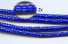 Vintage Electric Blue and White Striped Small Ghana Glass Beads BA-A43NB