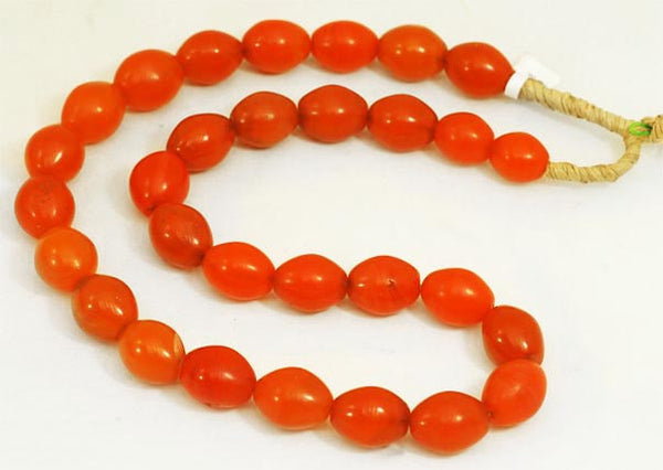 Vibrant Orange Oval Glass Beads BA-FOVS