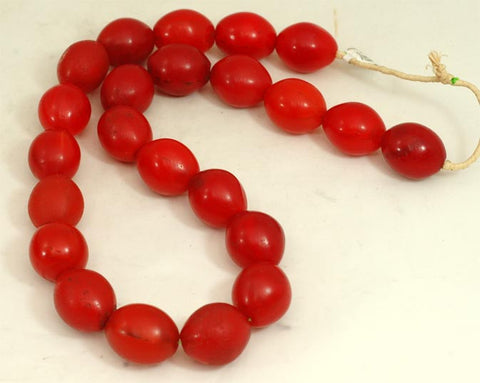 Large Vibrant Red Oval Glass Beads BA-FRVL