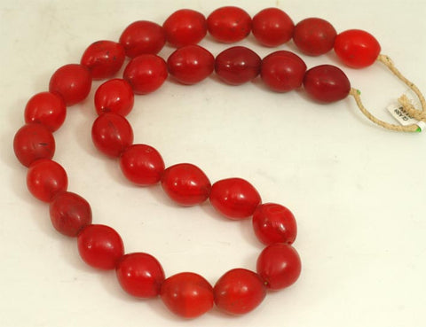 Medium Vibrant Red Oval Glass Beads BA-FRVM