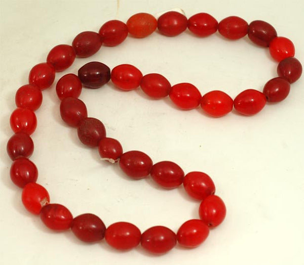 Vibrant Red Oval Glass Beads BA-FRVS