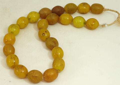 Large Vibrant Yellow Oval Glass Beads BA-FYVL