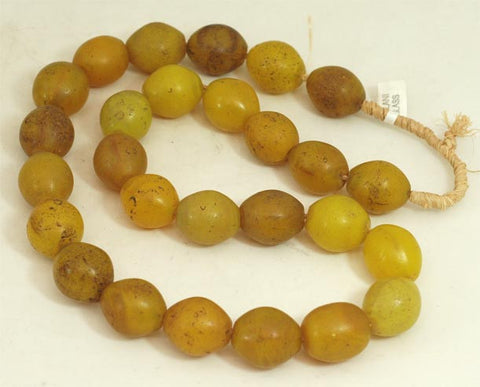 Medium Vibrant Yellow Oval Glass Beads BA-FYVM