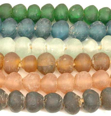 Recycled Glass Ghana Large Round Bead - 7 Colors