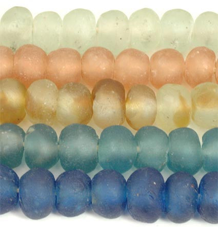 Recycled Glass Ghana Medium Round Bead - 6 Colors