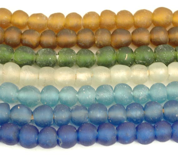 Recycled Glass Ghana Extra Small Round Bead - 9 Colors
