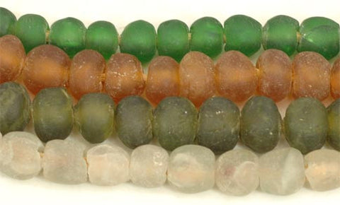 Ghana Small Recycled Glass Round Bead - 4 Colors